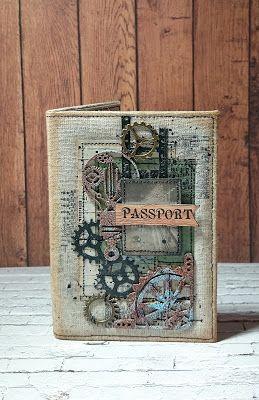 Творческий блог Евгении Кузнецовой.: Мягкая тканевая обложка на паспорт. Лён, шестеренки.