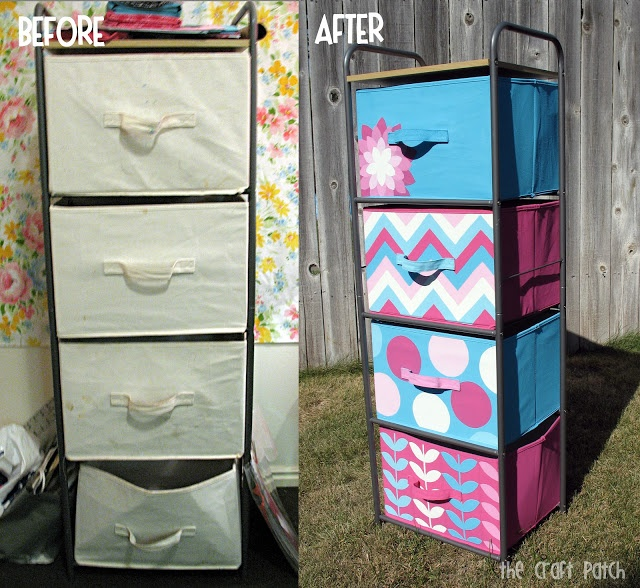 The Craft Patch: Painted Canvas Bins. How to paint canvas bins (give Statler's bin's some personality!) Then tag with a photo of what's inside.