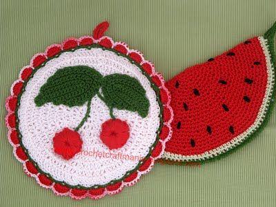 CrochetCraftMania: Presine all'uncinetto ... arriva la frutta !
