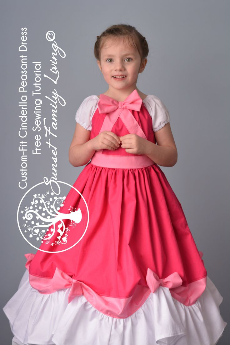 Free Sewing Tutorial | Cinderella Dress | Princess Dress | Disneyland | Sunset Family Living | Free Peasant Dress Pattern