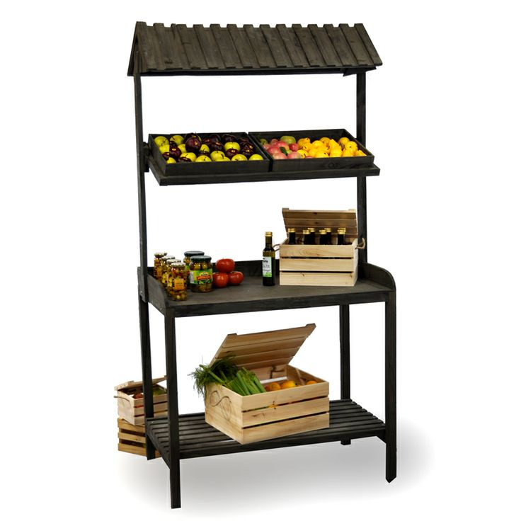 Wooden Produce Stand with Roof (use as a bar? or baker's rack?)