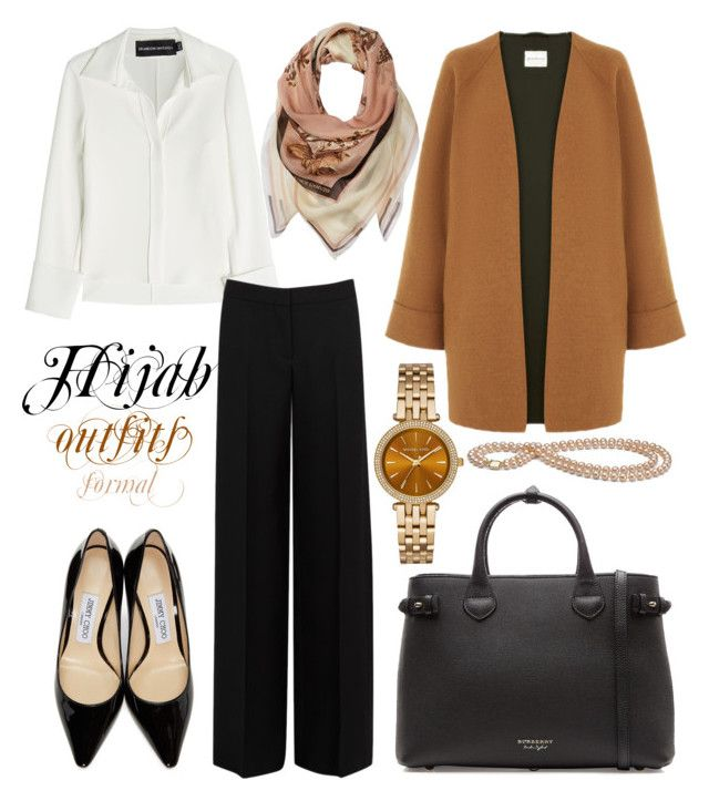 """#Hijab_outfits #Formal #"" by mennah-ibrahim on Polyvore featuring Brandon Maxwell, Jimmy Choo, Burberry, Alexander McQueen, Vince Camuto and Michael Kors"