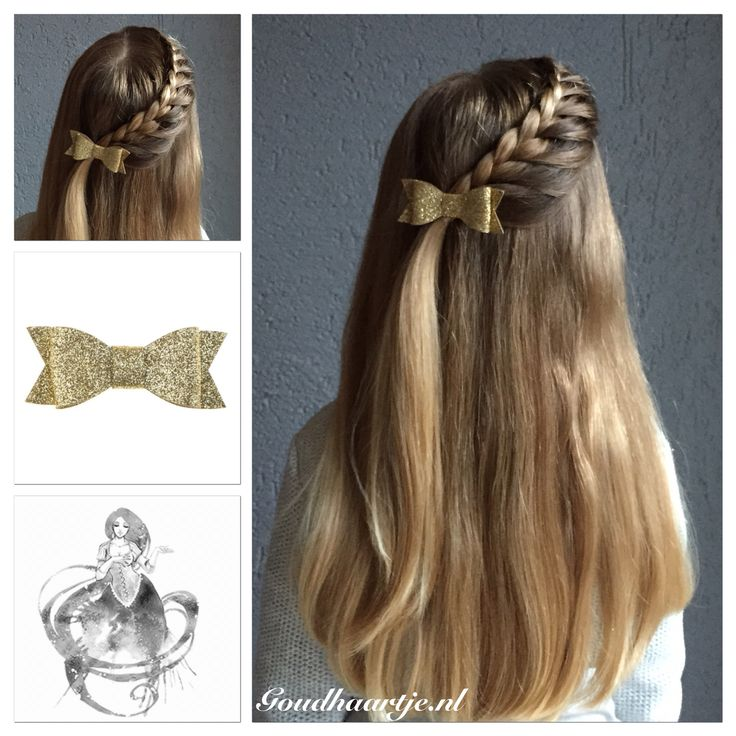 A side lace braid with a beautiful bow from Goudhaartje.nl