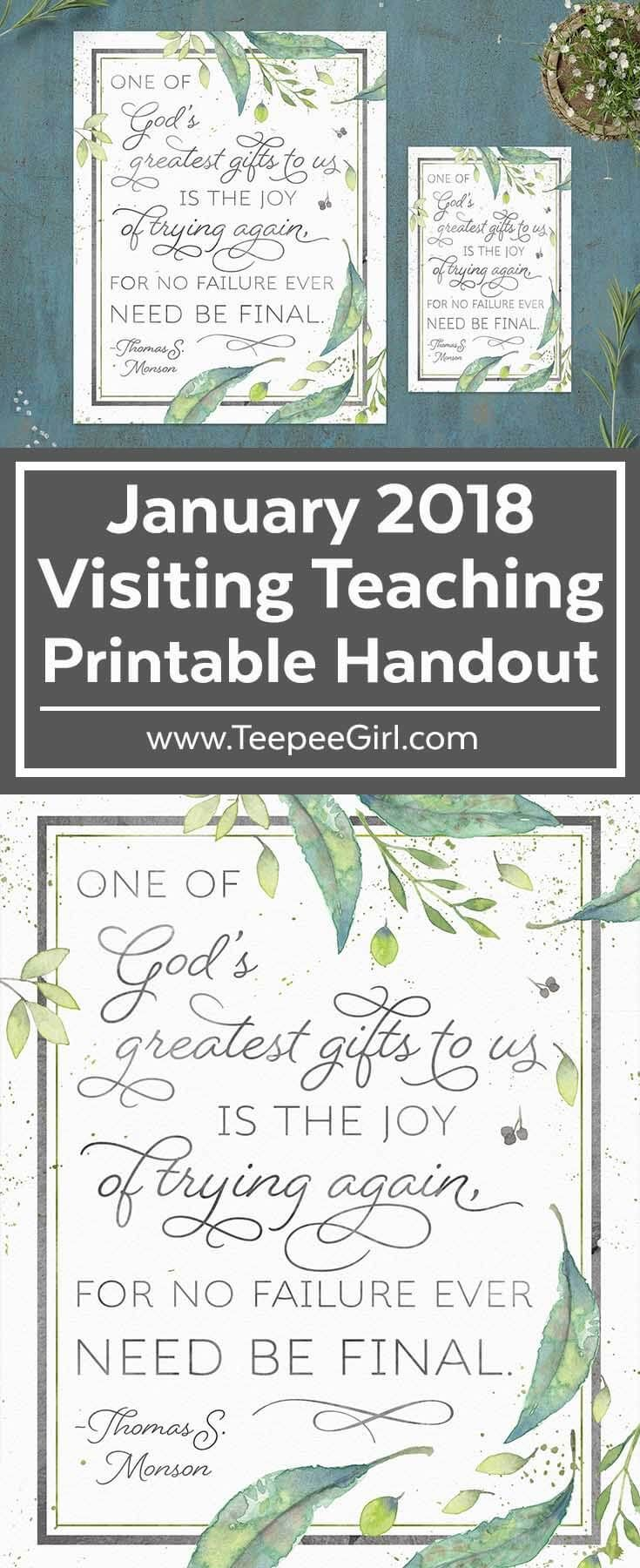 January 2018 Visiting Teaching Printable Handout | Inspirational Printable | www.TeepeeGirl.com #VisitingTeaching #LDSPrintables #LDSReliefSociety