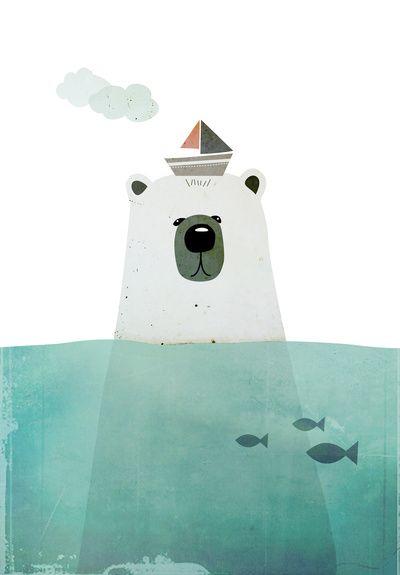 Polar bear Art Print nursery room art