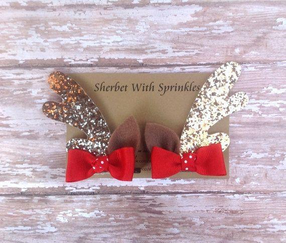 So Cute! Glitter hair clips, Gold Glitter Reindeer Antlers Reindeer by sherbetwithsprinkles