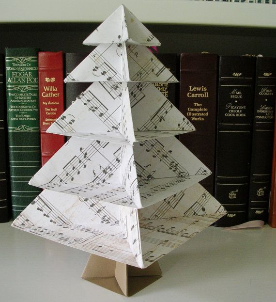 Origami Sheet Music Tree Desk or Table by PaperImaginations - would be cute with scrapbook paper