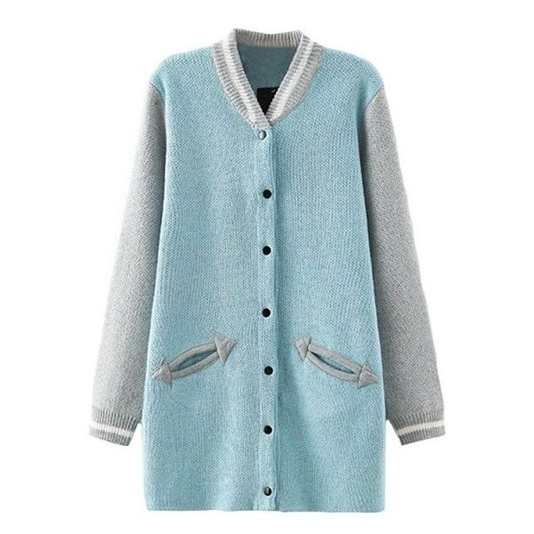 Pastel Hue Knitted Varsity Jacket Style Cardigan ($29) ❤ liked on Polyvore featuring tops, cardigans, jackets, pink, blue top, pink top, pink cardigan, button cardigan and pastel tops