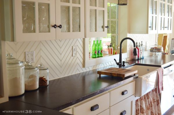 DIY Herringbone Beadboard Backsplash from Farmhouse38