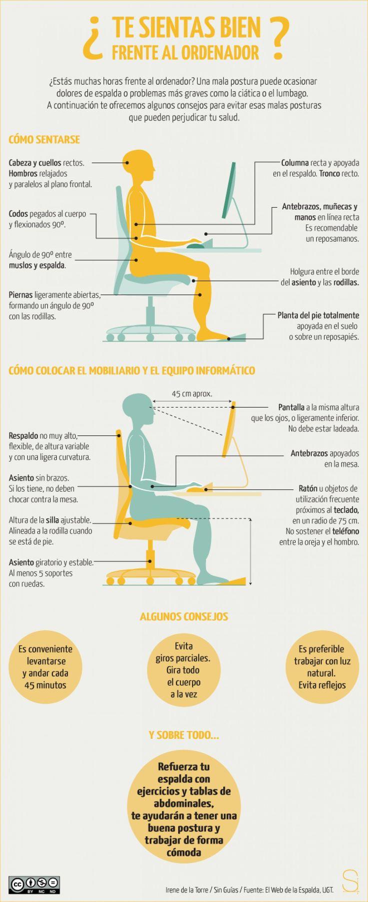 Cómo sentarse bien y cómo colocar mobiliario y ordenador para no sufrir dolores de espalda