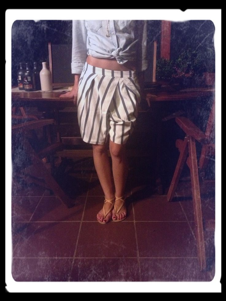 Outfit of Day:28/7 #zara shorts & sandals @hm jeanshirt #thefthing handmade necklaces