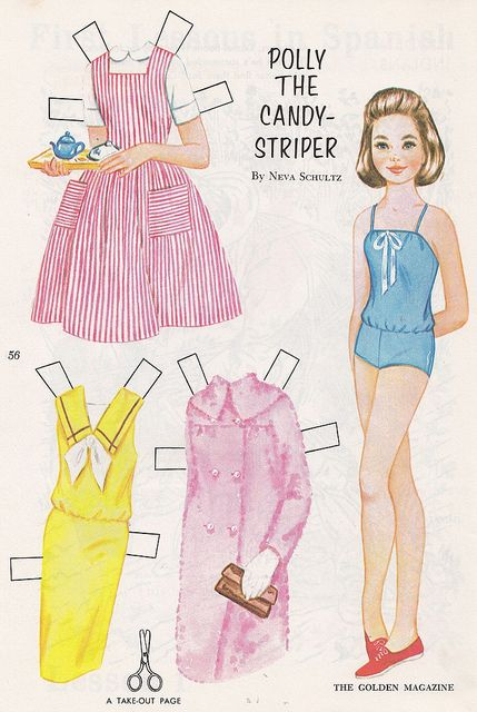 Polly the Candy-Striper Paper Doll 1965    January 1965, paper doll included in The Golden Magazine for Boys and Girls.  Illustrated by Neva Schultz