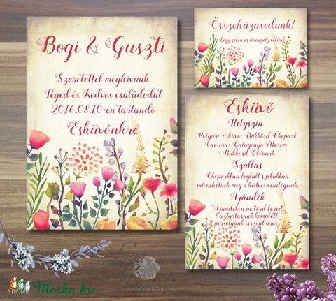 Rusztikus Esküvői meghívó, Vintage Esküvő, Vad virágos, Bohém Esküvői képeslap, rusztikus lap, vintage , Esküvő, Naptár, képeslap, album, Meghívó, ültetőkártya, köszönőajándék, Képeslap, levélpapír, Meska