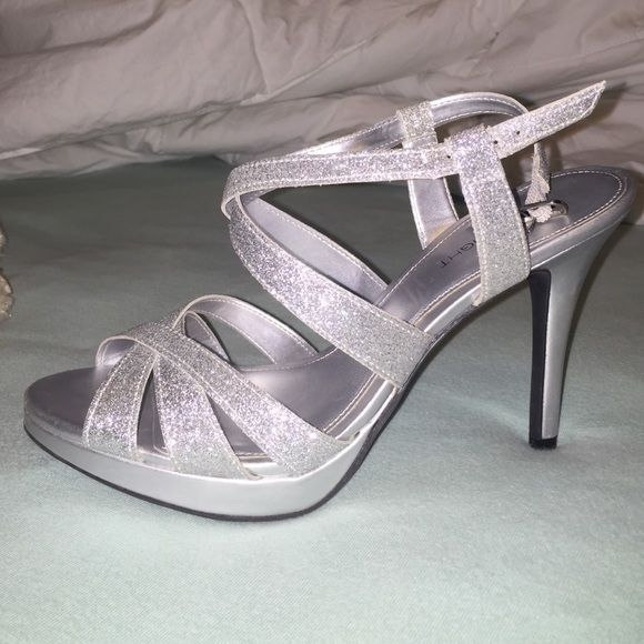 Silver sparkly heels Worn once, great condition! Shoes Heels