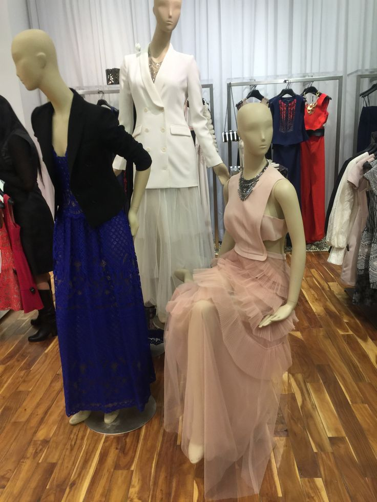 in a conner, there are 3 mannequins setting up. And for this group, the theme maybe is dress up, like woman dress up for date or evening party.