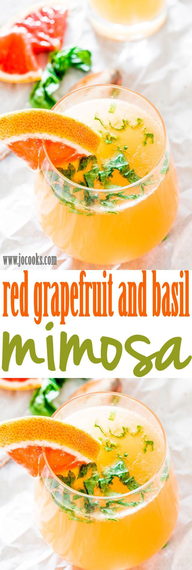 Red Grapefruit and Basil Mimosas - these yummy and perfect mimosas are made with just 4 ingredients! Perfect for your next brunch or cocktail party.