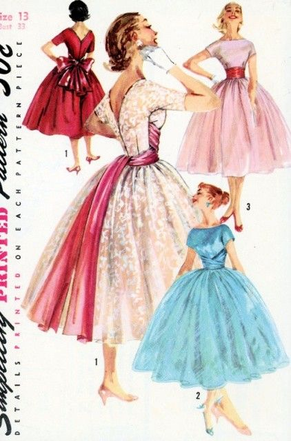 1950s DREAMY EVENING DRESS PATTERN VERY FULL SKIRTED BATEAU NECKLINE V BACK