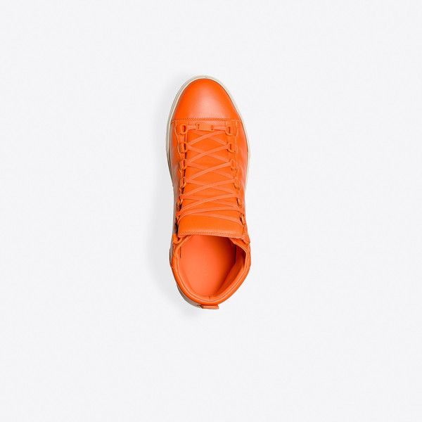 Balenciaga High Sneakers | Orange | Men's Arena Sneakers ($565) ❤ liked on Polyvore featuring men's fashion, men's shoes, men's sneakers, mens orange sneakers, balenciaga mens shoes, mens shoes, mens sneakers and mens orange shoes