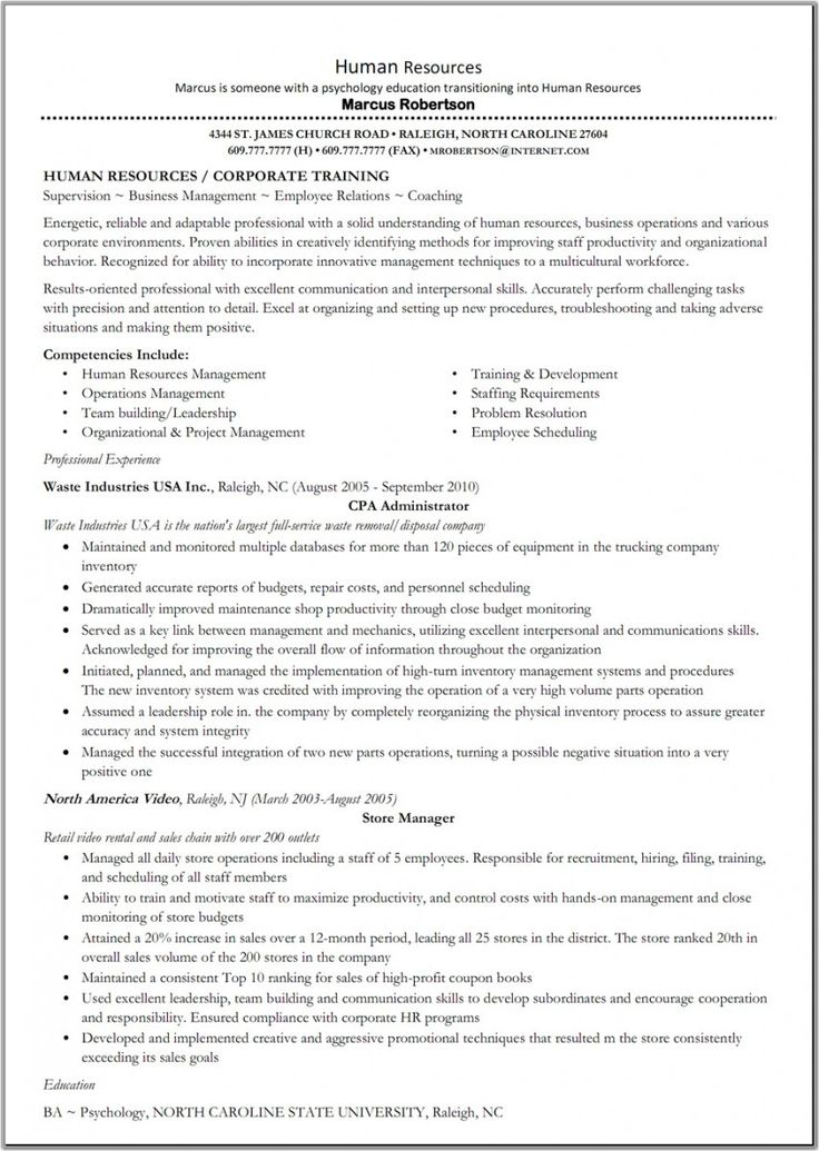 Hr Administration Sample Resume 16 Human Resources