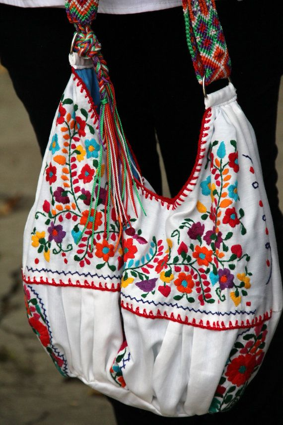 White and multi colored hand  Embroidered Huipil Boho by CasaOtomi Mexico, Tenango, mexican wedding, textile, mexican suzani, suzani, embroidery, hand embroidered, otomi, www.casaotomi.com, otomi, table runner, fiber art, mexican, handmade, original, authetic, textile , mexico casa, mexican decor, mexican interior, frida, kahlo, mexican folk,  folk art, mexican house, mexican home, puebla collection, las flores, travel tote, boho, tote, handbag, purse, cushion, serape