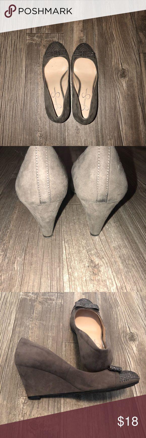 Gray wedges with rhinestones Jessica Simpson Gary wedges with rhinestones Jessica Simpson Shoes Wedges