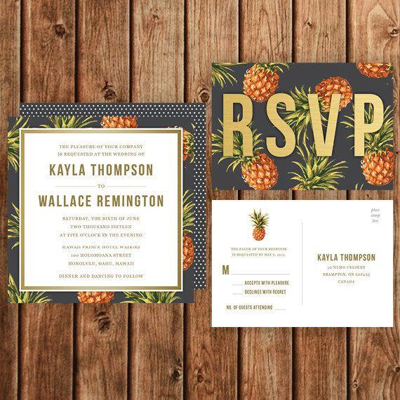 Destination Wedding Invitation, Black, Yellow, Pineapple, Polka Dot, Vintage, Tropical Party Invitation, Beach, Island, Hawaii