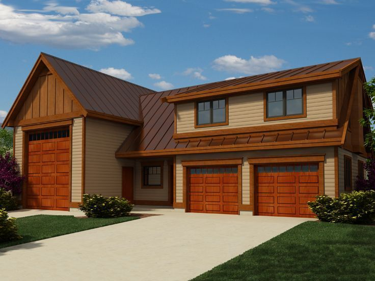 010G 0023 2 Car Garage Apartment Plan With RV Bay