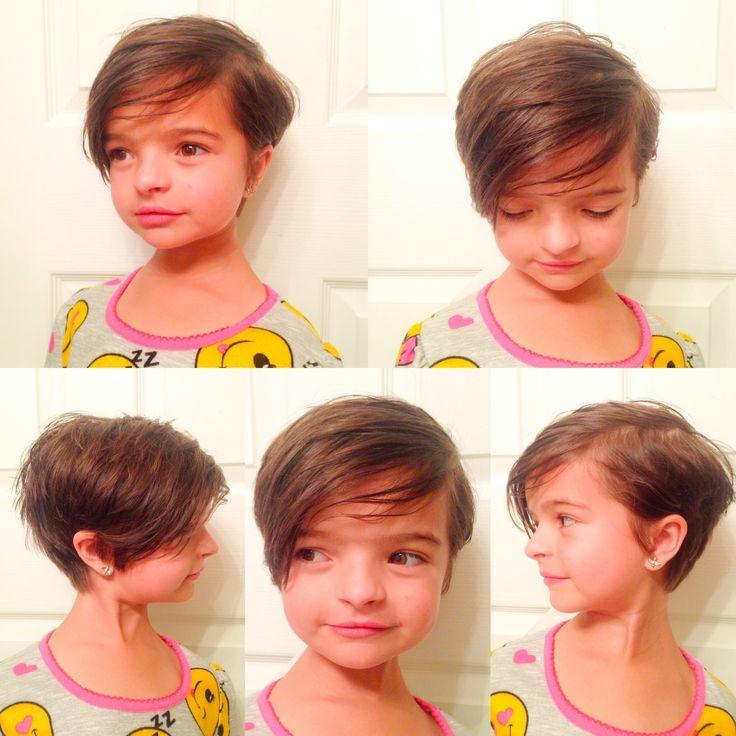Little girl's haircut, little girl's hairstyle, pixie cut, short hair, short hairstyle