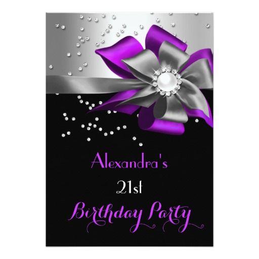 442 best Purple Black Birthday Party Invitations images on Pinterest