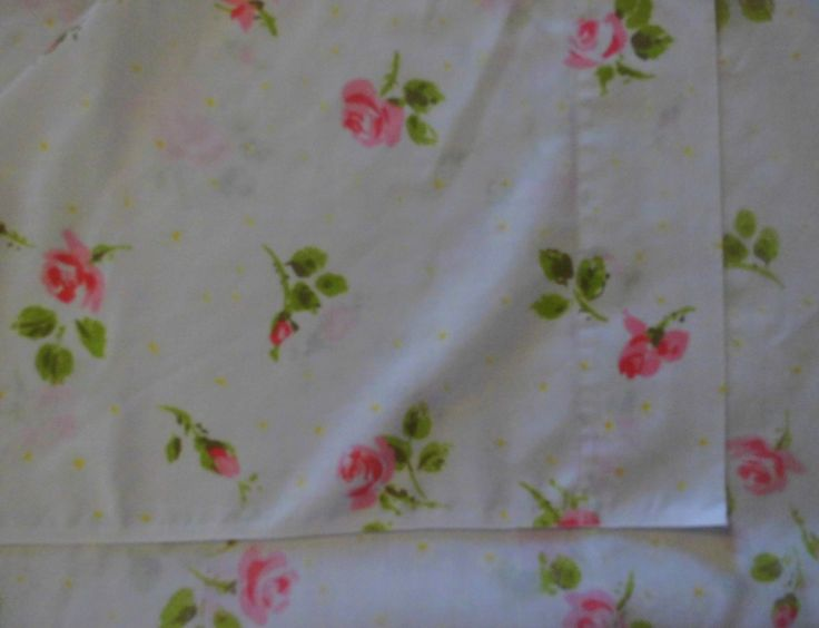 Vintage Rose Pink Bedding-Bed Sheet 81 x 104 Double Flat bed sheet USA by flyingdollar on Etsy