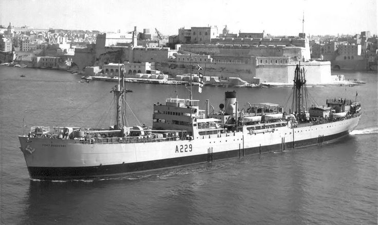 RFA Fort Duquesne built by West Coast Shipbuilding Co at Vancouver as Quensborough Park for Ministry of War & Transport completed 25/11/44. Managed by A.Holt & Co as store ship. Transferred to RFA in 16/09/47 renamed& converted to Naval stores,Issuing ship. In '55 played the part of German freighter Tacoma in film 'The Battle of the River Plate'. Arrived Scheldt for scrapping on 29/06/67. 7220Grt, 439ft long, 57ft beam & 27ft draught. Power-triple expansion steam engine, single screw. 115…