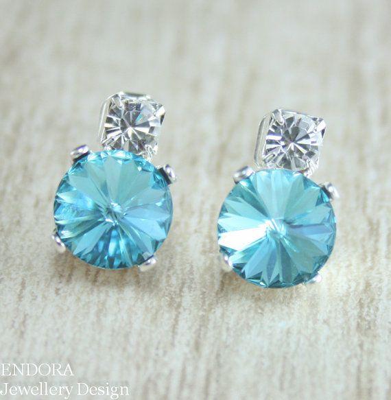 Turquoise earring,Light Turquoise Swarovski crystal earring,Rivoli earring,blue wedding jewelry,Blue crystal earring,Blue bridal,turquoise