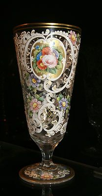 Beautiful Bohemian Clear Glass Pedestal Stem Goblet Heavy Enameled Rose Florals