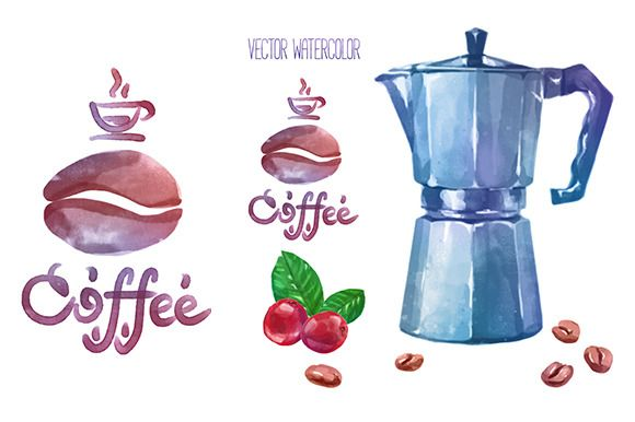 Vector watercolor coffee objects 2 by Krol on @creativemarket