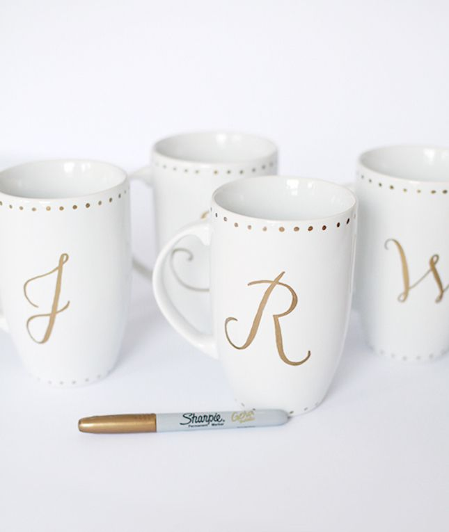 Grab some mugs and give 'em a monogram makeover.