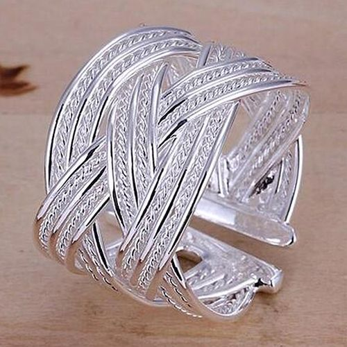 Women's Silver Plated Claw Ring Woven Mesh Style Jewelry Gift US 8 89N4