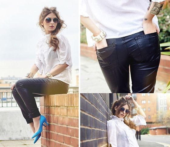 Get this look: http://lb.nu/look/6713222  More looks by Denisia  A.: http://lb.nu/denisia  Items in this look:  S.O.S. Jeans By Orza Studio Leather Trousers, H&M Court Shoes, Aldo Sunglasses   #chic #minimal #street #fashion #leather #heels #pumps #blue #sunglasses