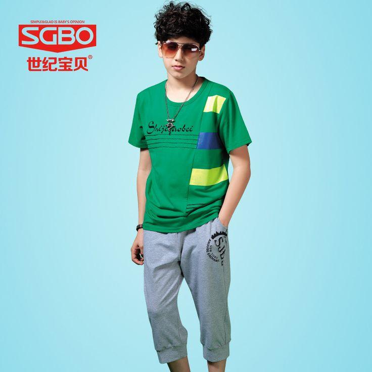 Sgbo марки мальчиков летние устанавливает спортивный костюм для мальчиков 12 13 14 15 лет мода дети костюм мода Tshirt + свободного покроя брюки 6C5086