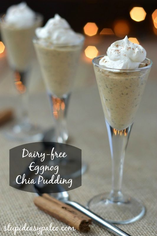 Dairy-free Paleo Eggnog Chia Pudding | stupideasypaleo.com All the flavors of creamy eggnog, made dairy-free!