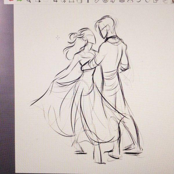 Romantik-Paar-Bleistift-Skizzen-und-Zeichnungen,