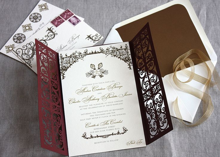 Beautiful Spanish style wedding invitations with laser cut pattern