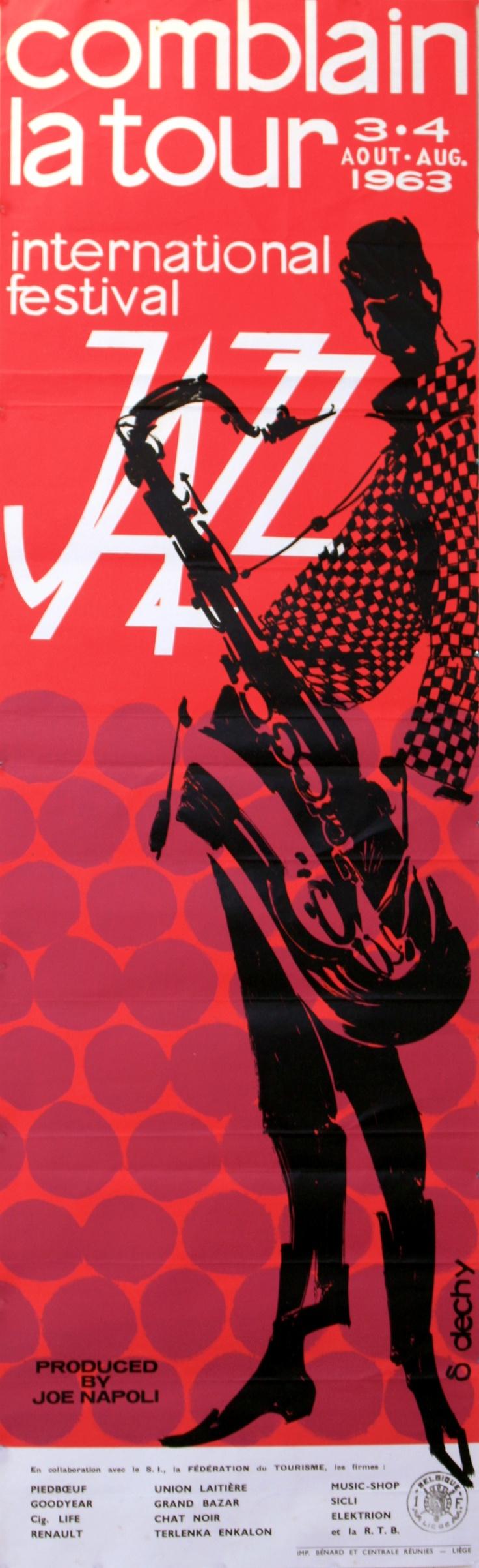 Comblain Jazz Festival 1963 - original vintage poster by S Dechy