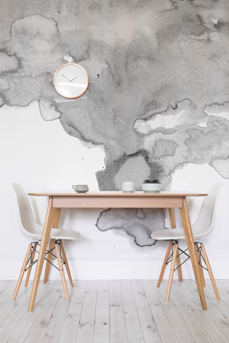 Boring white walls are going out of fashion. There's a new way to dress your walls, say hello to soft smokey watercolor designs. This texture wallpaper design adds interest to your walls in a contemporary way.