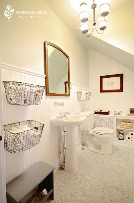 I like the baskets in this small bathroom.: Small Bathroom, Metals Baskets, Half Bath, Wall Baskets, Mustard Seeds, Bathroom Ideas, Wire Baskets, Powder Rooms, Hexagons Tile