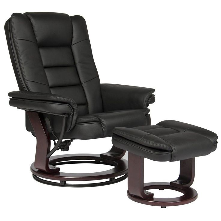 Contemporary leather swivel recliner ottoman wood base