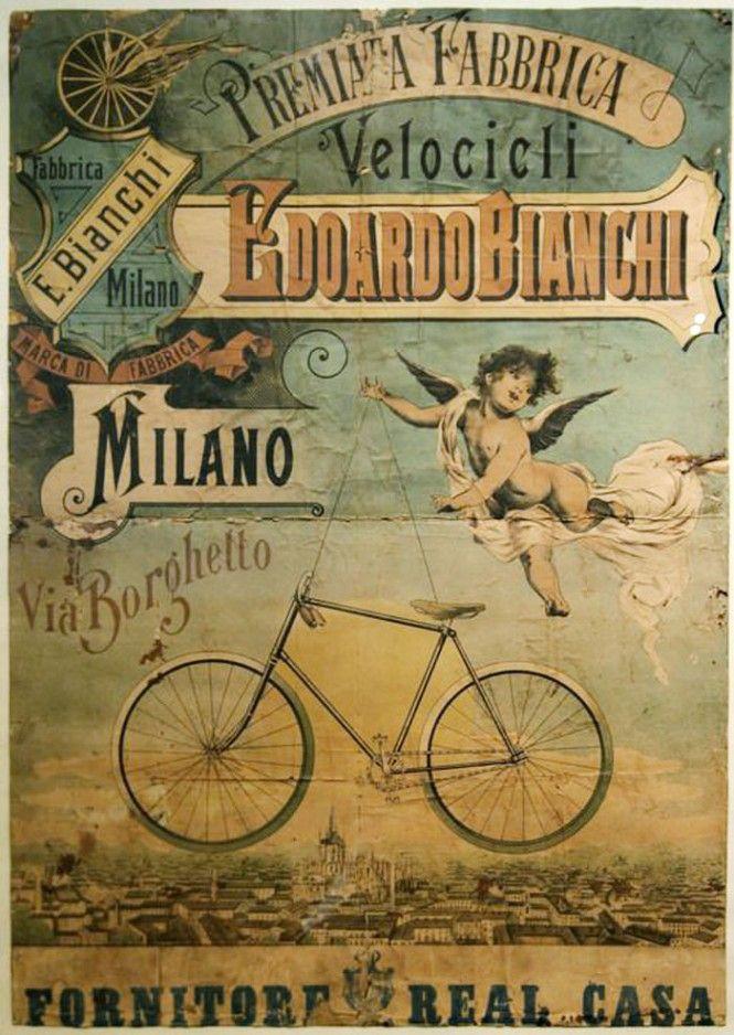Poster pubblicitario Biciclette Bianchi, 1896 - advertisement poster