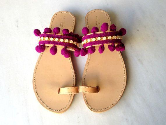 Pon pon and rhinestones sandals  Boho sandals  by MadebyMarKa