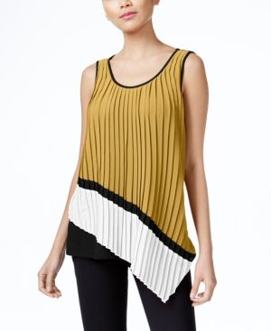 Ny Collection Asymmetrical Mixed-Media Pleated Top - Tan/Beige XS