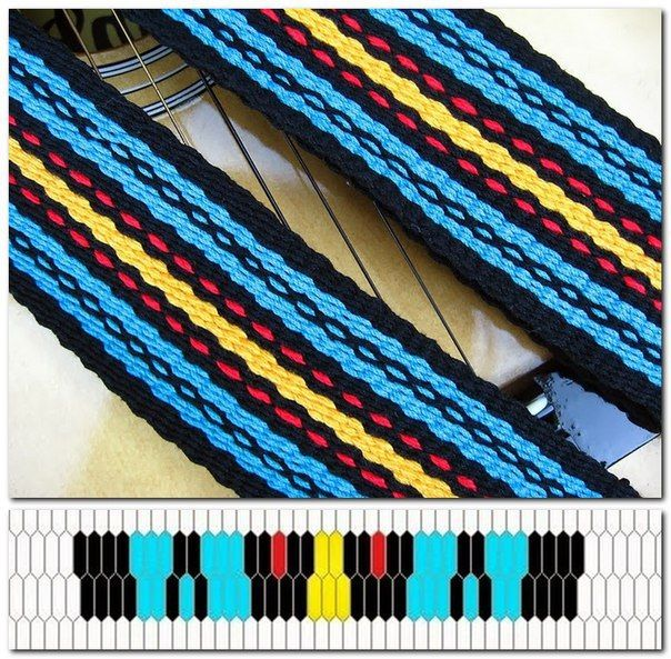 Простые узоры и схемы порядка ниток на лентоткацком станке. – 30 фотографий