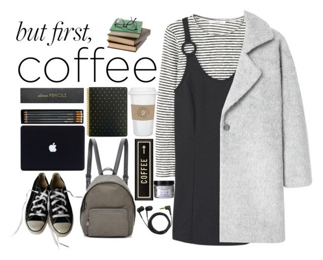 """First coffee"" by i-am-cool-girl ❤ liked on Polyvore featuring MANGO, Sugar Paper, Converse, STELLA McCARTNEY, Sloane Stationery, WALL, Spicher and Company, Sennheiser and Skin & Tonic"